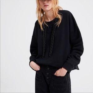 ZARA Sweatshirt with Chain Trim